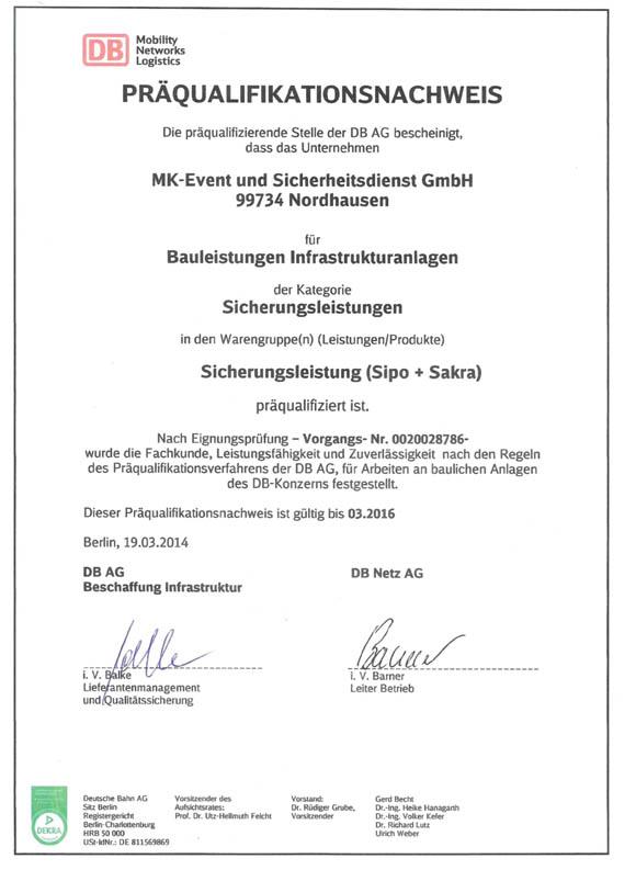 Präqualifikationsnachweis 2016